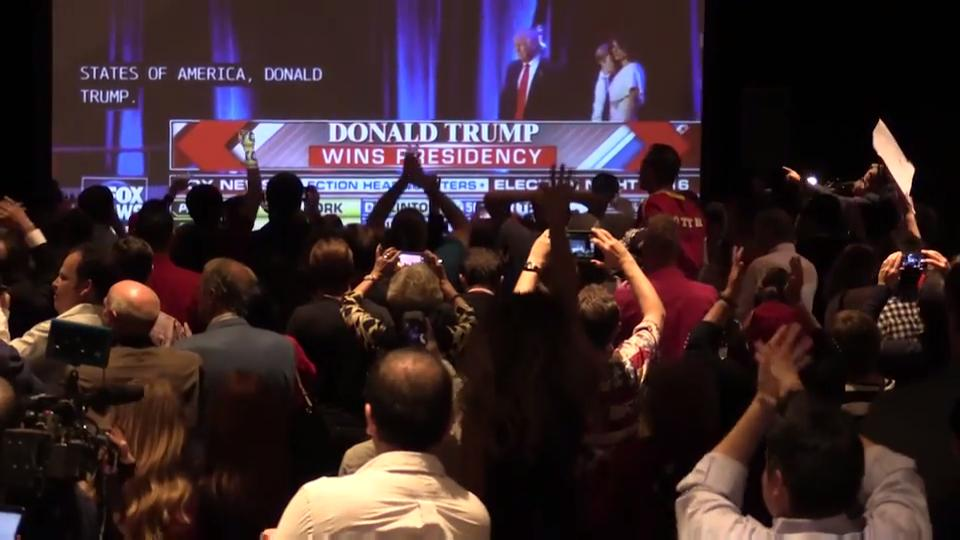 Supporters react to Donald Trump's win during Arizona Republican Party event