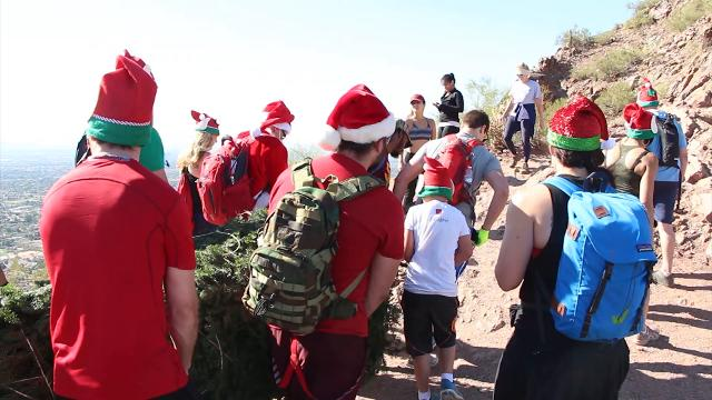 Hikers put Christmas tree on Camelback Mountain