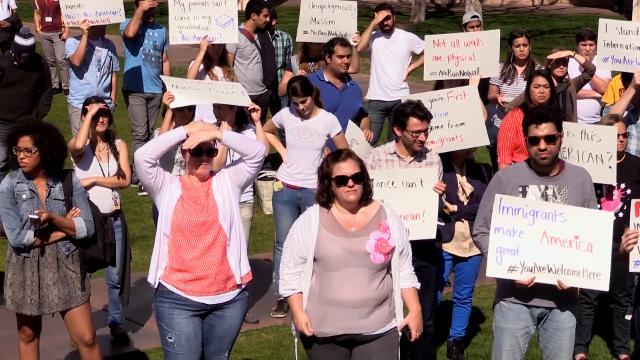 ASU visa ban protest at Tempe campus