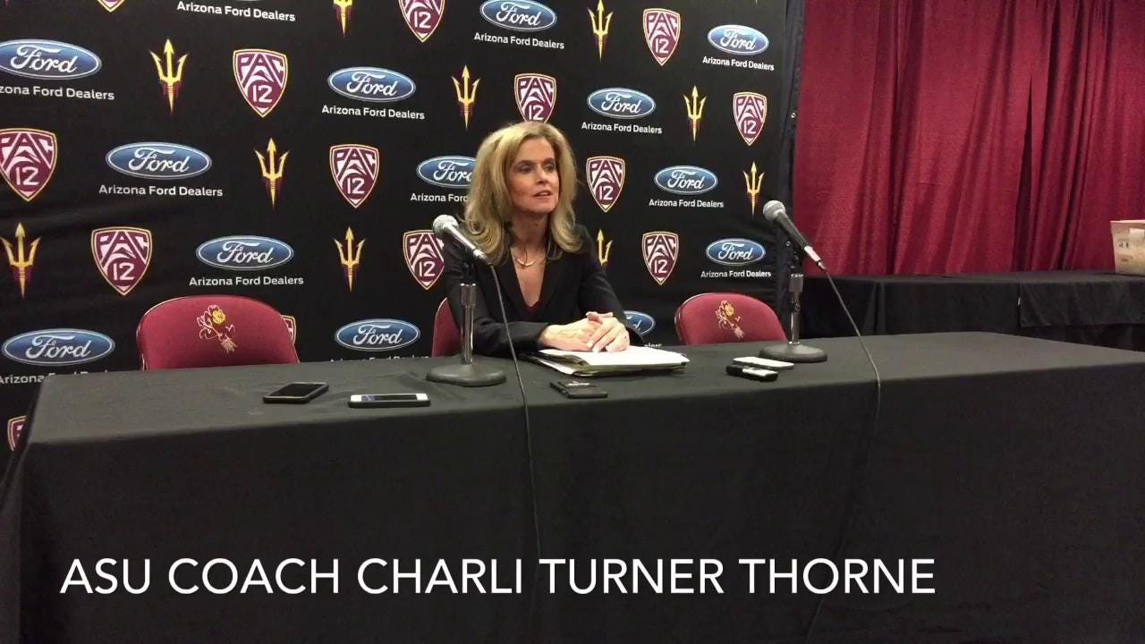 ASU coach Charli Turner Thorne and forward Sophie Brunner on 67-54 win in rivalry rematch against Arizona, Feb. 19, 2017. (Jeff Metcalfe/azcentral sports)