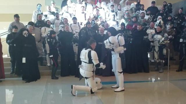 This storm trooper proposal warms our adorably nerdy hearts