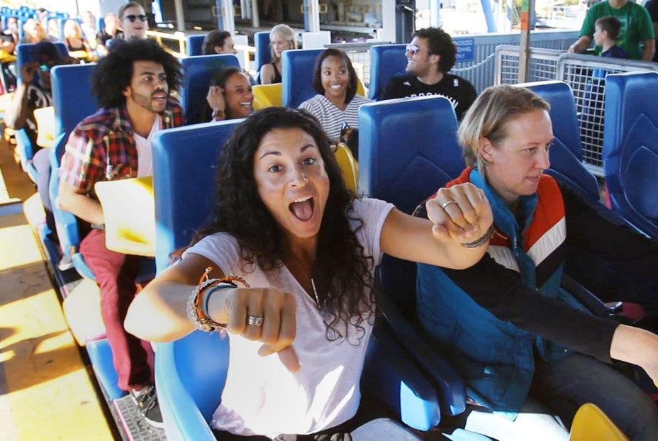 """On their day off, the cast of """"Hamilton"""", one of Broadway's hottest shows, spent the afternoon at Great Adventure and sampled many of the park's thrill rides. STAFF VIDEO BY BOB BIELK"""