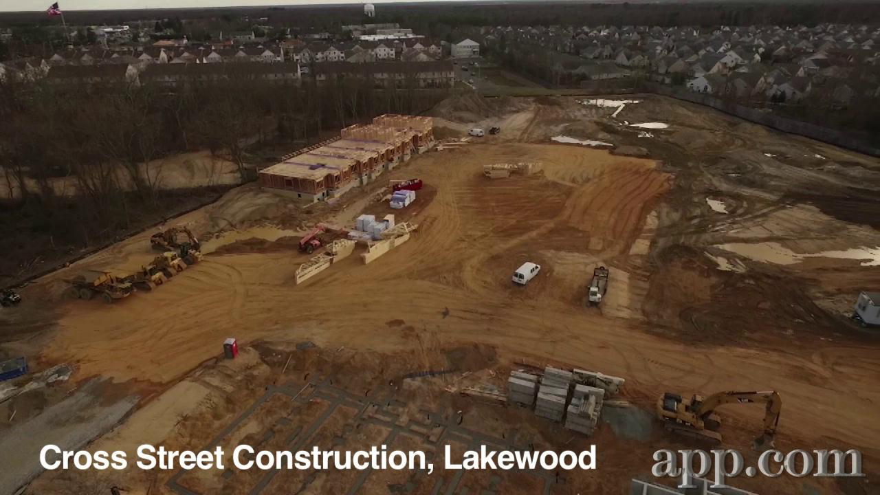 Drone flies over Lakewood construction sites