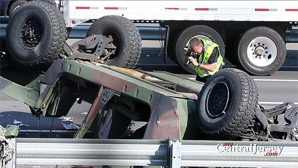Overturned Humvee on Turnpike closes road, injuries soldiers