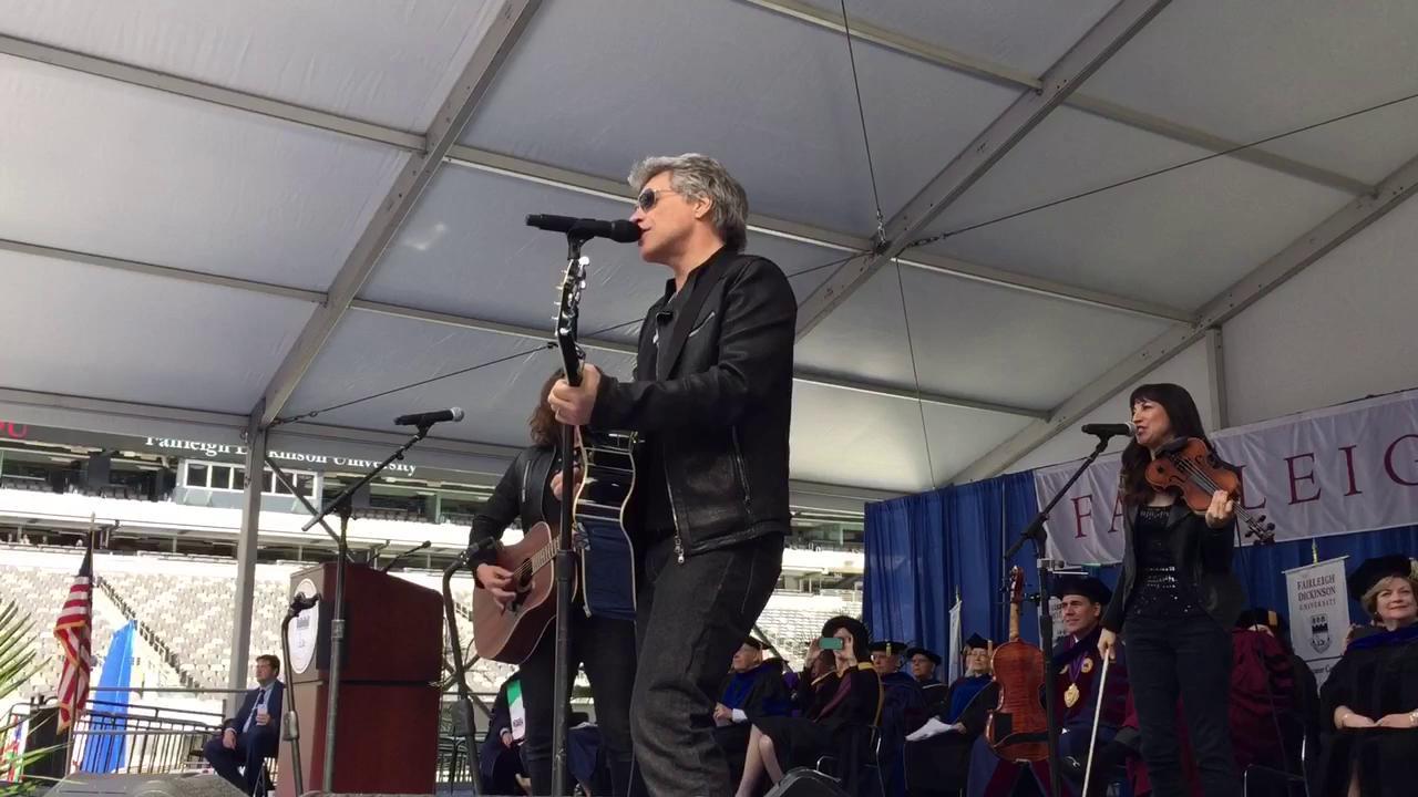 """Bon Jovi performs """"Reunion"""" for Fairleigh Dickinson's Class of 2017 at MetLife Stadium. 5/16/17"""
