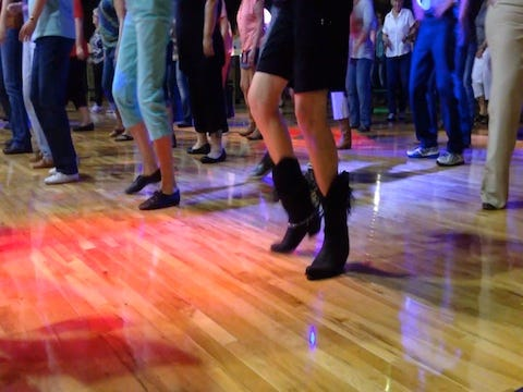 Wednesday nights are line dancing lessons at the Backroads Saloon in Marshall.