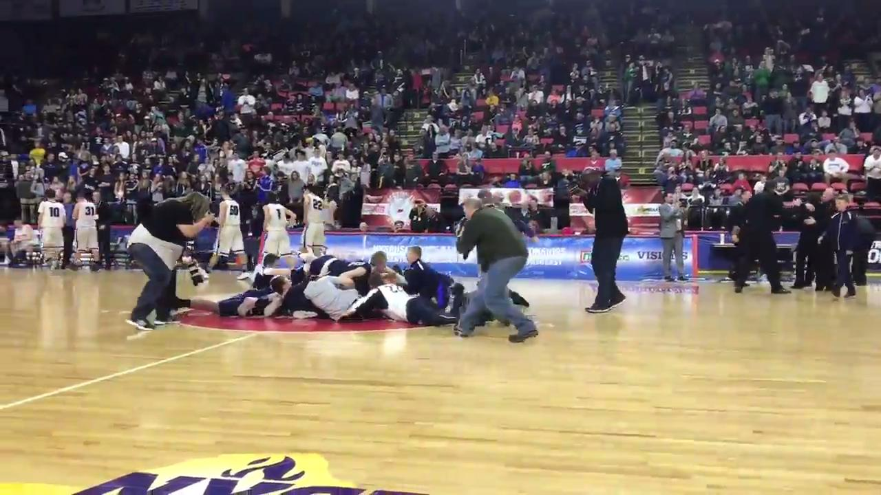 Moravia defeated Lake George, 54-39, to win the Class C state boys basketball championship on Saturday. It is the first team state championship for Moravia.