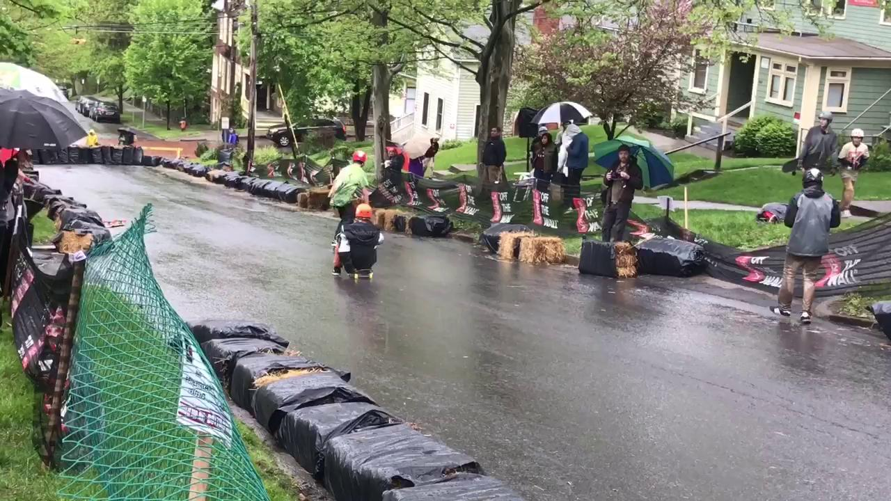 Skateboards slipped and slid in the rain on Buffalo Street in Ithaca on Saturday for the Ithaca Skate Jam.