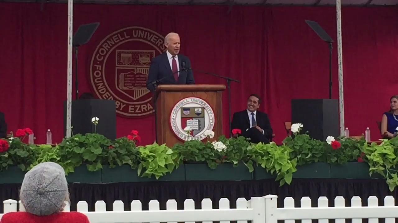 Video: Joe Biden engages crowd at Cornell University