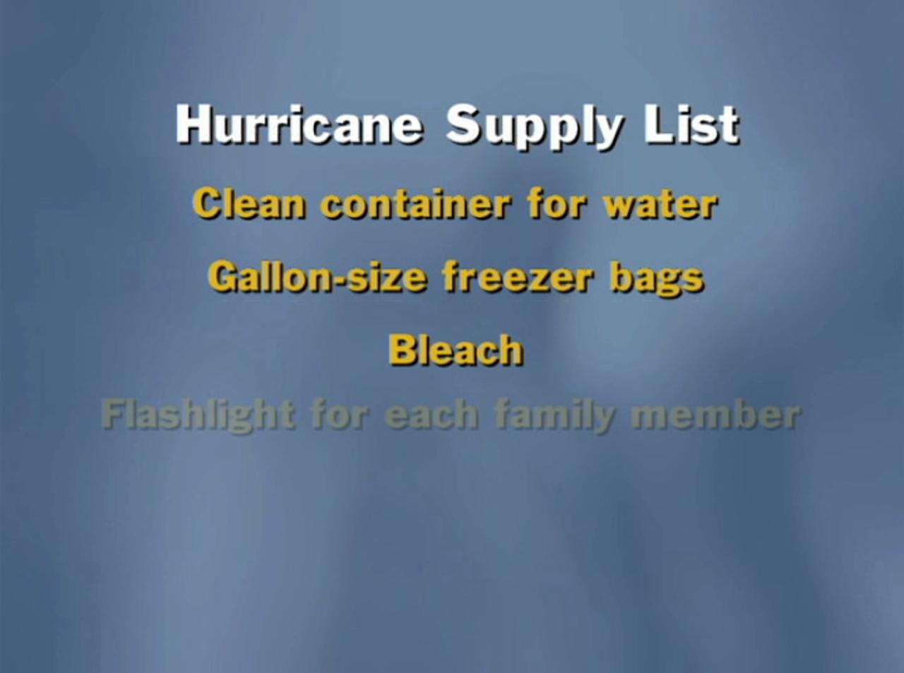 Hurricane prep: Supply list
