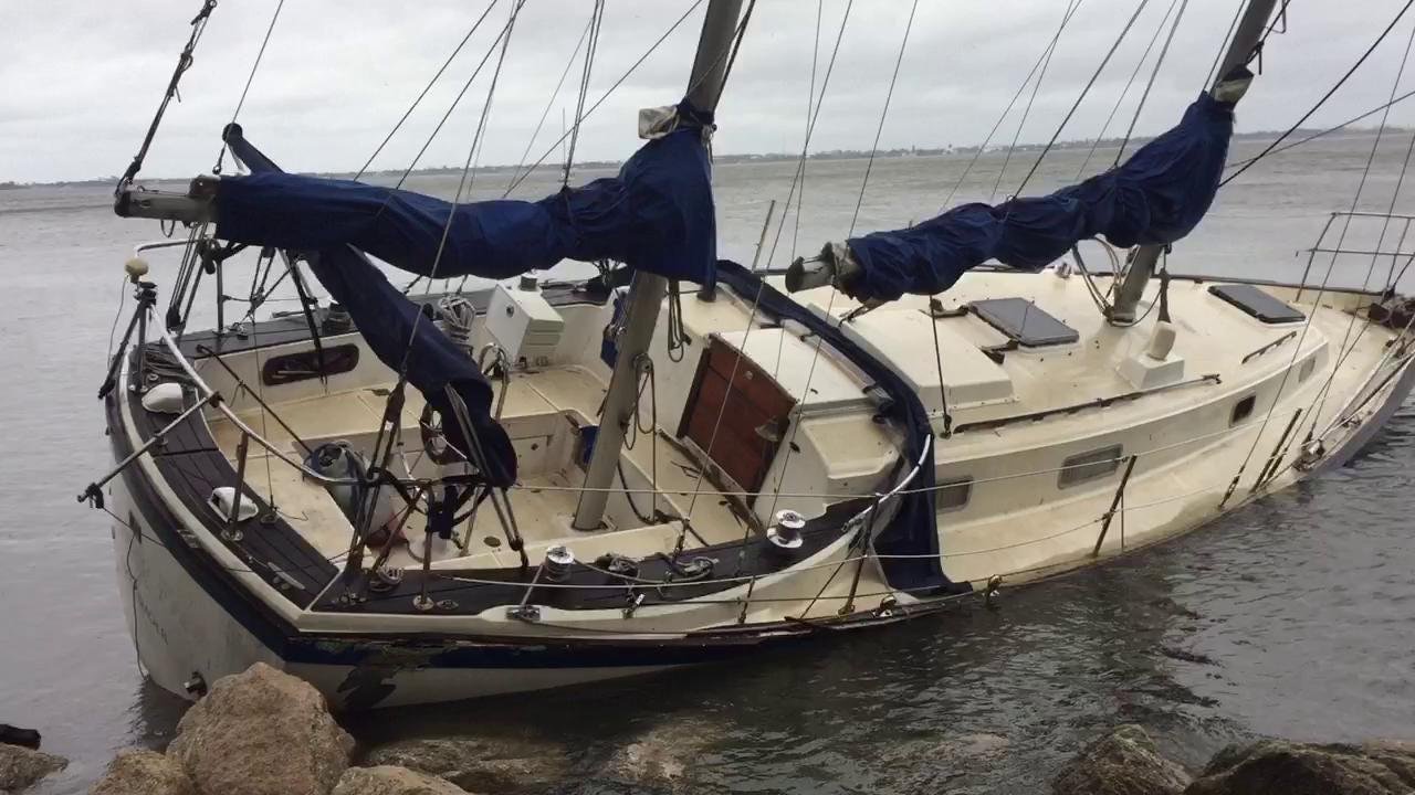 Hurricane Matthew: Sailboat beached at Eau Gallie library