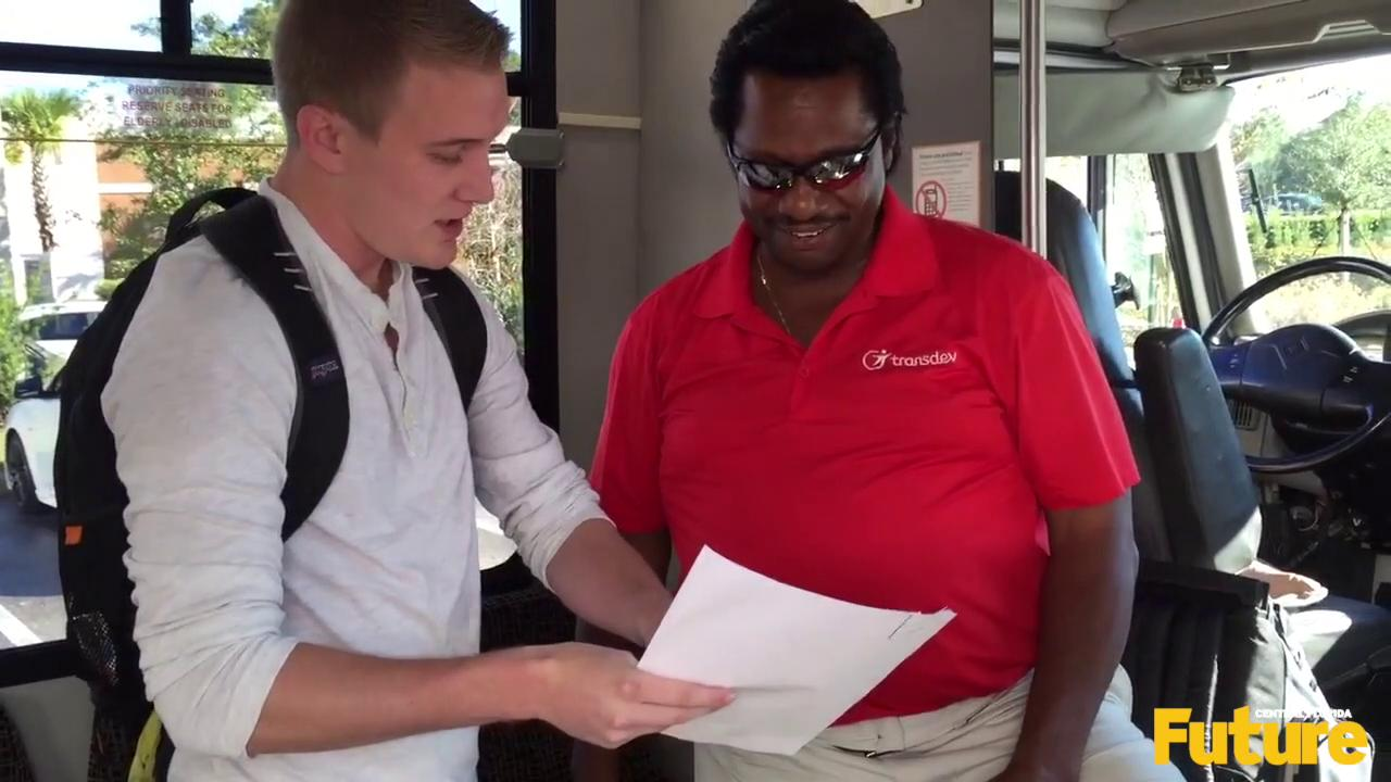 """When shuttle driver Maurice stopped at the Plaza on University this morning, he was greeted with more than the typical """"hellos"""" and """"good mornings"""" from his usual passengers."""