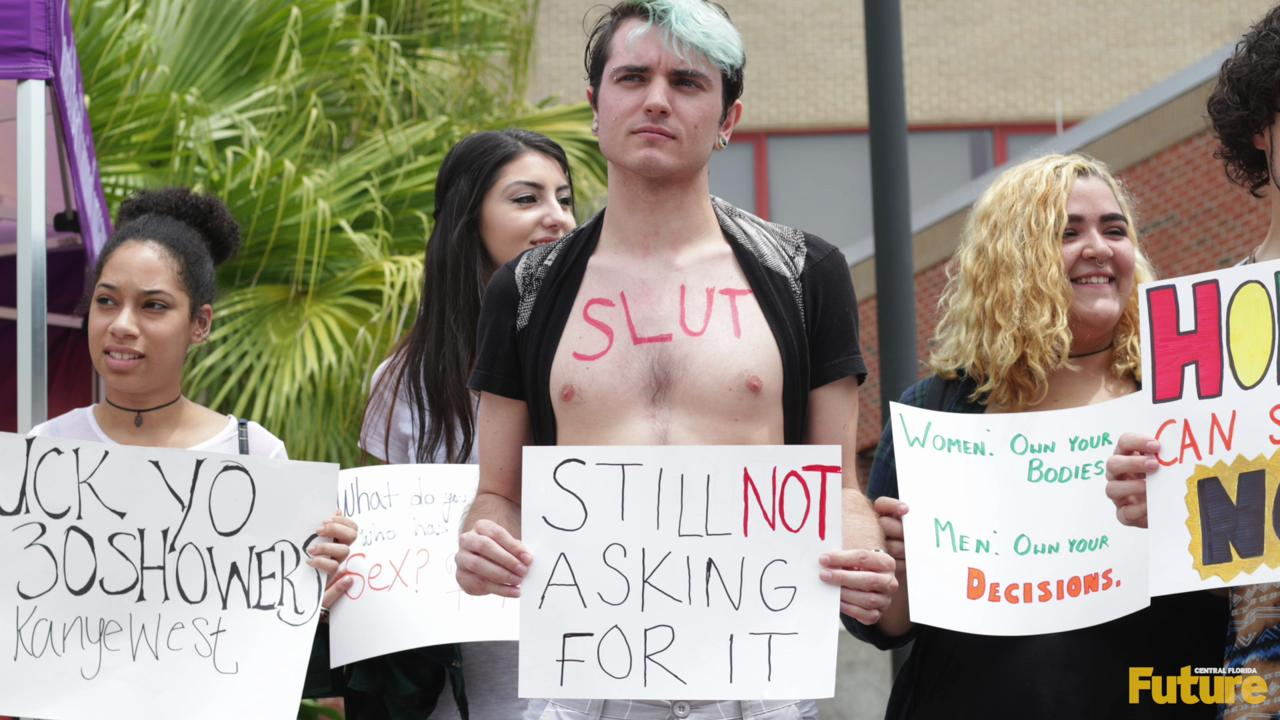 The College Democrats at UCF and other progressive on-campus organizations held the annual Slut Walk on Wednesday.