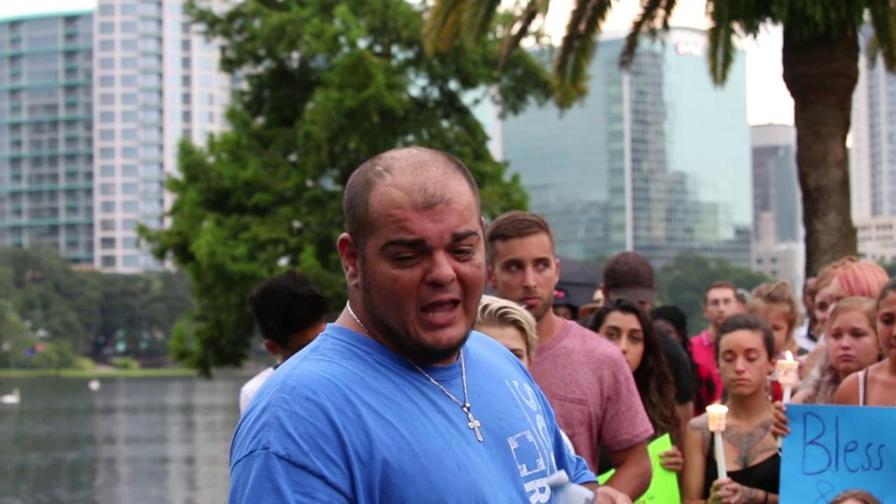 In front of a crowd of more than 100 people at Lake Eola Park Sunday night, a local shares his thoughts on the mass shooting at Pulse nightclub.