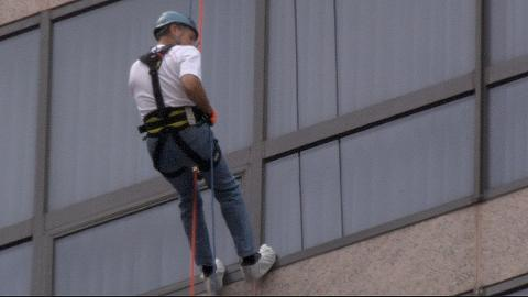 86 year-old Bill Magnus, father of Edie Magnus, rappels 17 stories from the Westin Hotel Cincinnati in honor of his two children who died from drug addiction in the Shatterproof Challenge.