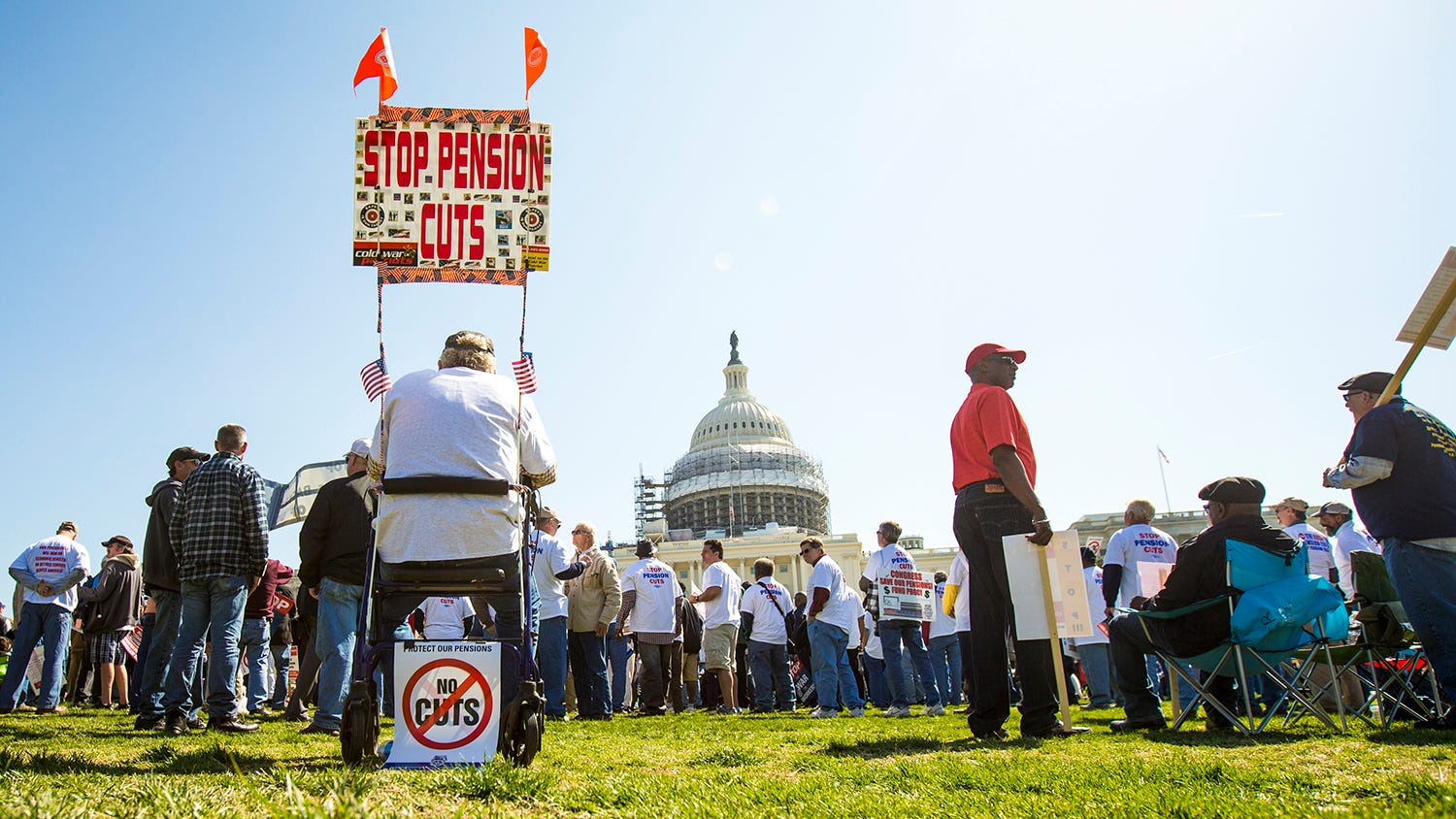 Pension promises rally draws thousands to D C