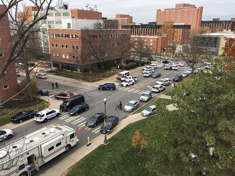 OSU attacker drove on sidewalk, used butcher's knife.