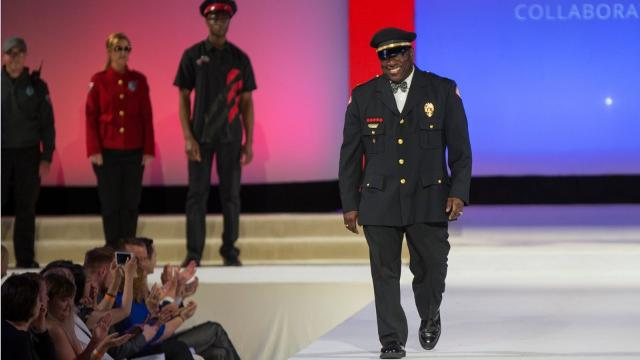 University of Cincinnati police officers are getting new uniforms designed by DAAP students and faculty. They modeled the new designs at the annual DAAP fashion show in April.