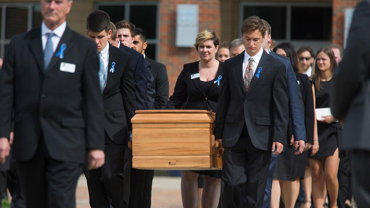 Hundreds paid tribute to Otto Warmbier, who died Monday afternoon, at Wyoming High School in Wyoming, Ohio. Warmbier had been imprisoned in North Korea since Jan. 2016, when he was 22. He returned last week to his family in a coma.
