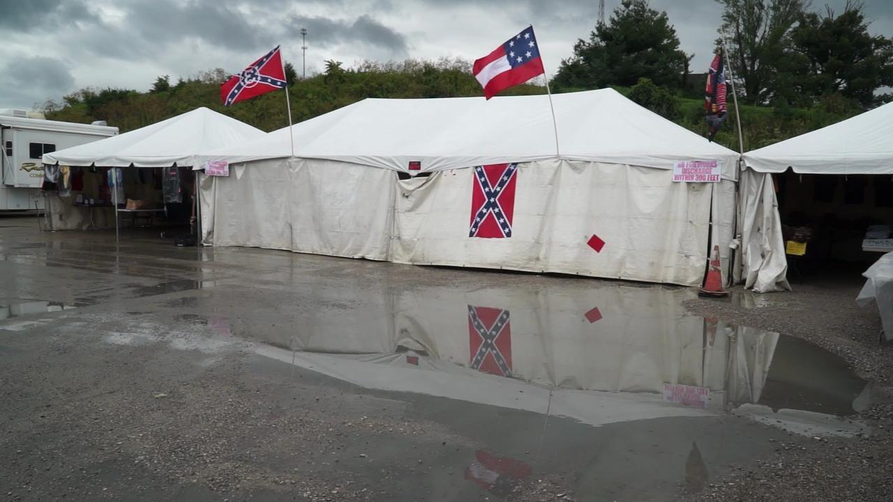 Vendor explains Confederate merchandise at NASCAR event