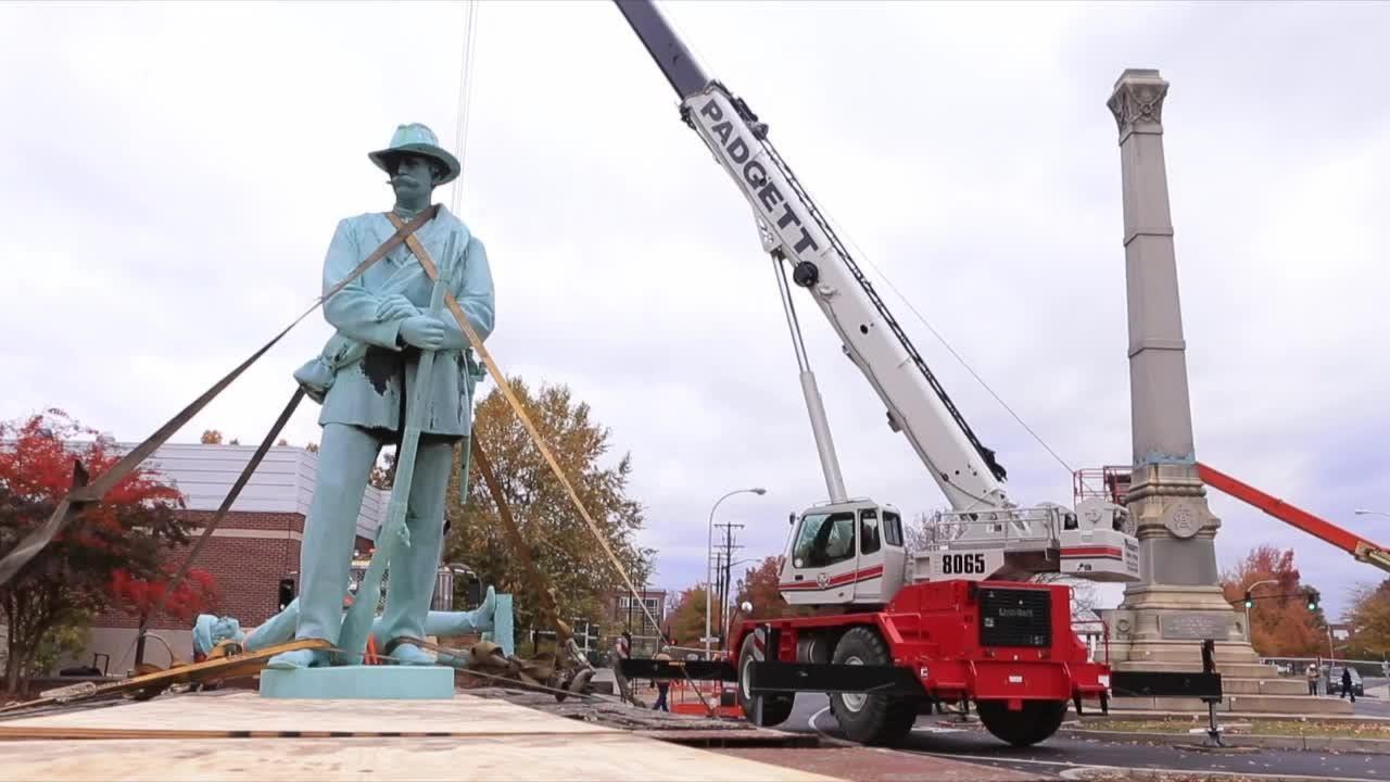 Confederate monument at U of L dismantled Saturday