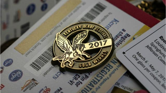 Kay Erickson is the woman who puts the gold Kentucky Derby Festival pins into the envelopes for the past 10 years