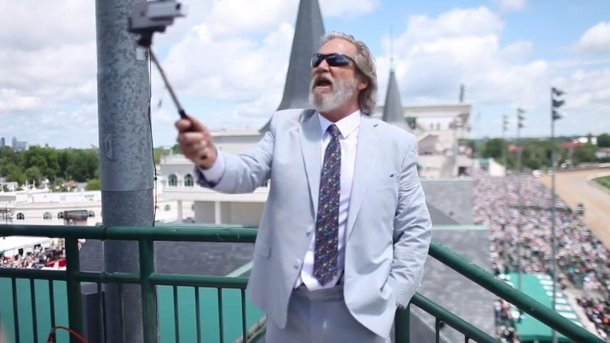 Jeff Bridges makes a selfie video at Kentucky Derby 2017