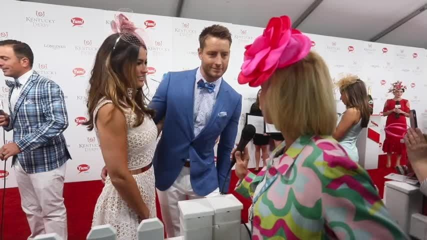 Justin Hartley and fiance Chrishell Stause on red carpet at Kentucky Derby 2017