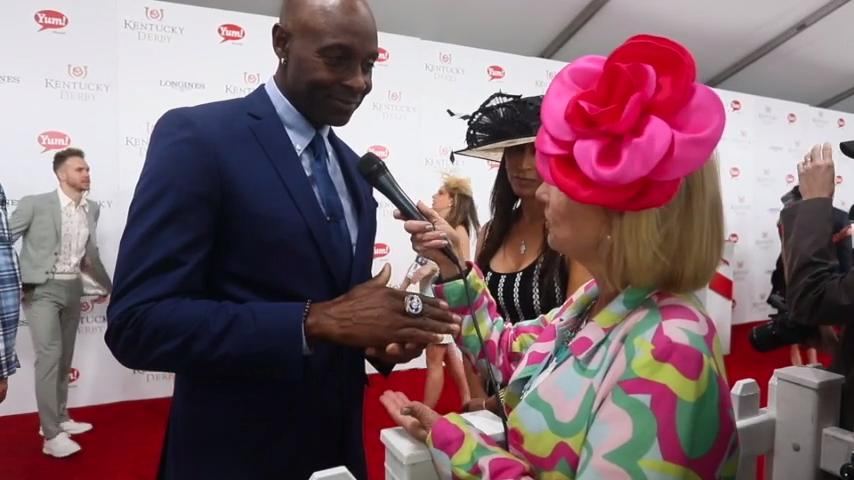 Jerry Rice on the red carpet at Kentucky Derby 2017