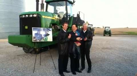 A delegation from China's Hebei Province, in Iowa to help celebrate 30 years of Iowa Sister States partnership, visited the Rick and Martha Kimberley farm that Xi Jinping visited in Februrary 2012 before he became China's president.