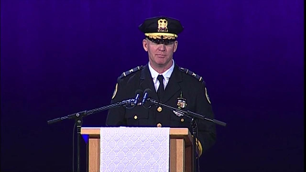 Police Chief Dana Wingert gives eulogy at Officer Susan Farrell's funeral service