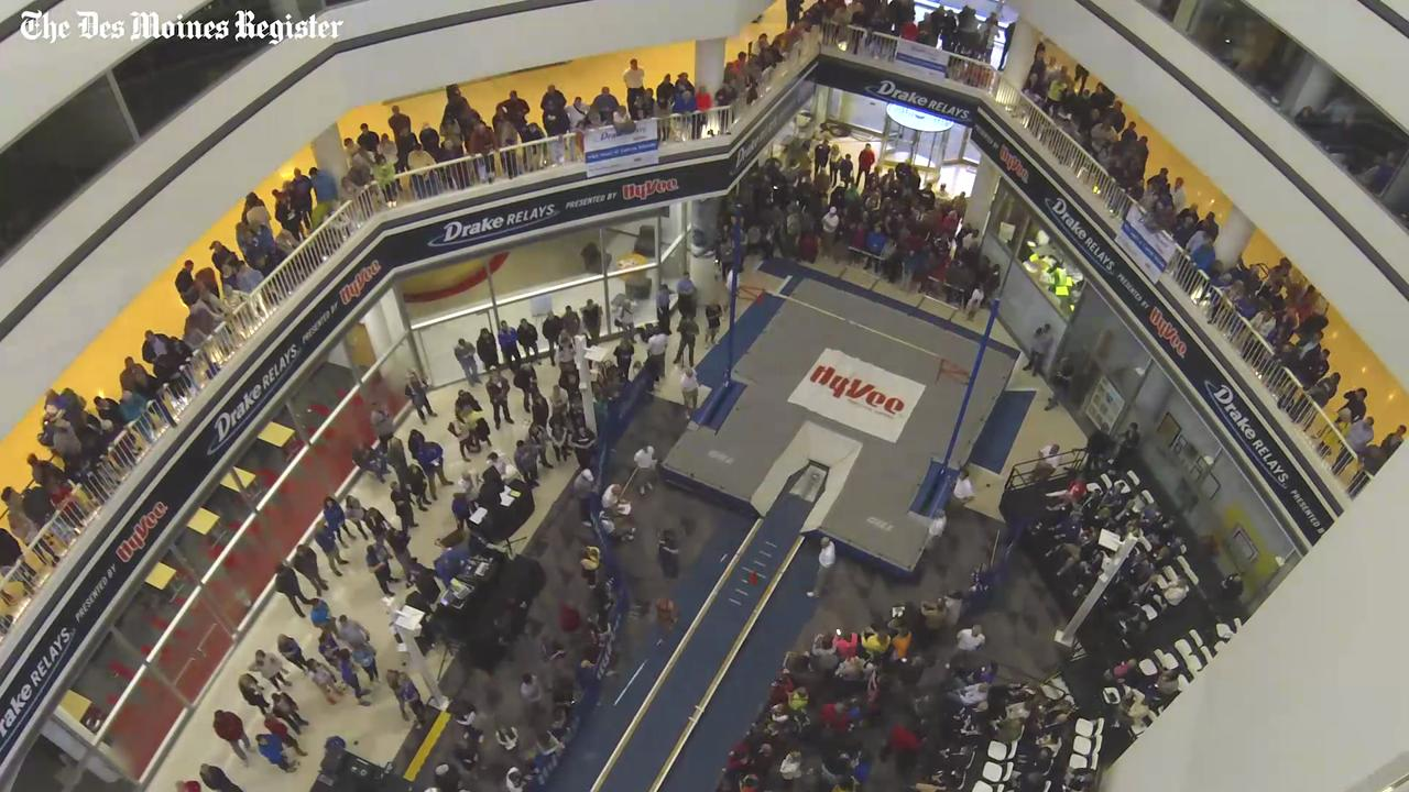 From 2016: See a timelapse from the Drake Relays men's and women's invitational pole vault that was held in the atrium of Capital Square in downtown Des Moines.