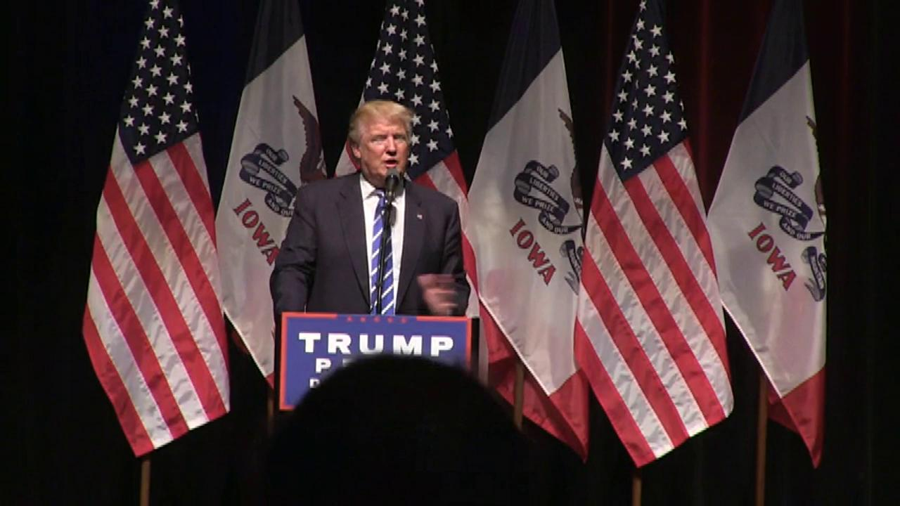 "Donald Trump calls the election a 'rigged system.' He also says to the crowd: ""33,000 emails are deleted and that's OK?"""