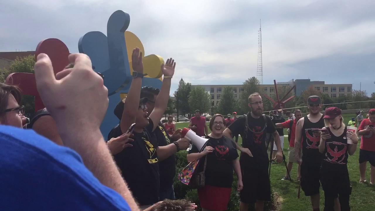 Pokemon Go meet-up in the Pappajohn Sculpture Park attracts hundreds of gamers on Sunday.