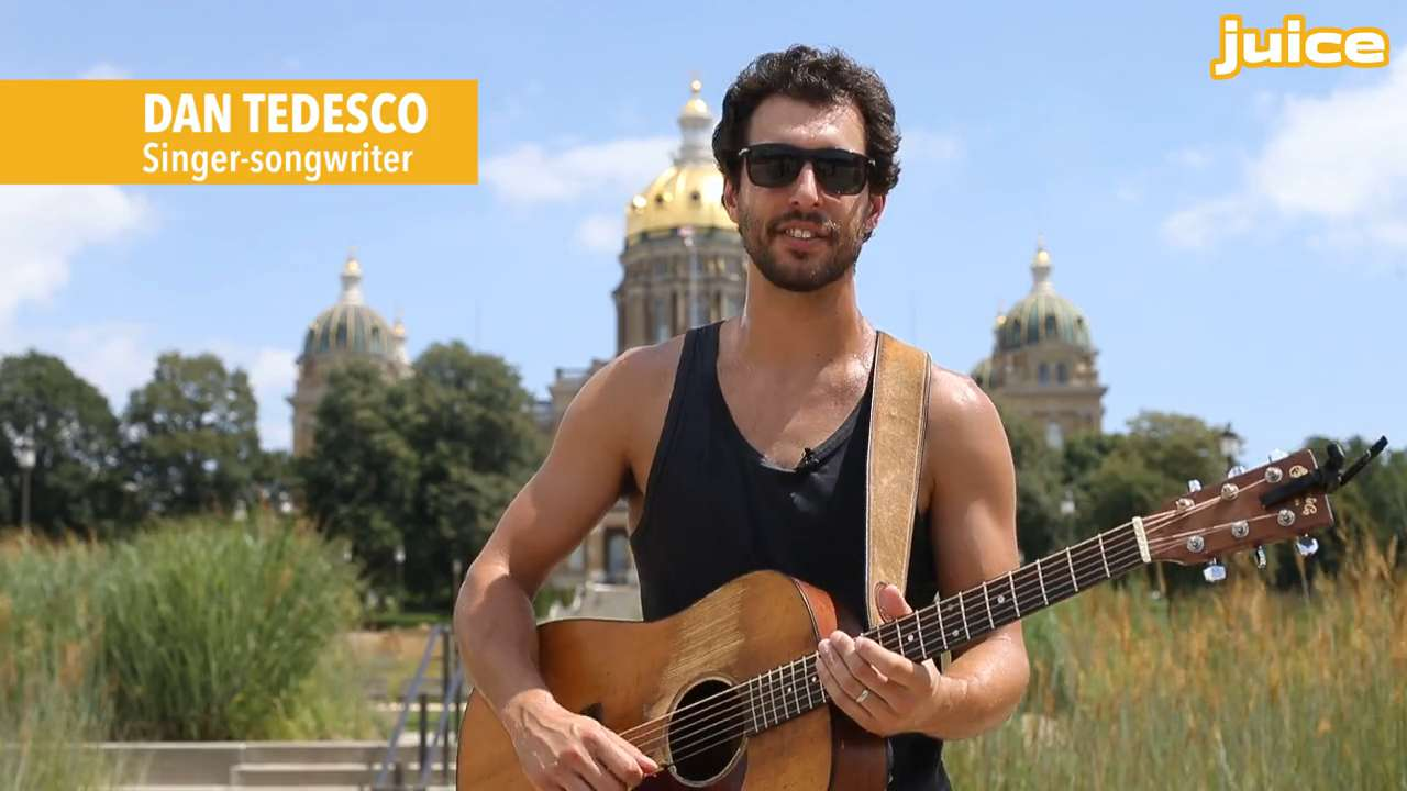 """Des Moines singer-songwriter Dan Tedesco performs his song """"I Didn't Come Here to Get Mellow"""" outside the Iowa State Capitol for the latest in the Juice Side Sessions music series."""