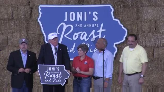 Republican presidential nominee spoke on several topics at U.S. Sen. Joni Ernst's Roast and Ride Aug. 27, 2016.