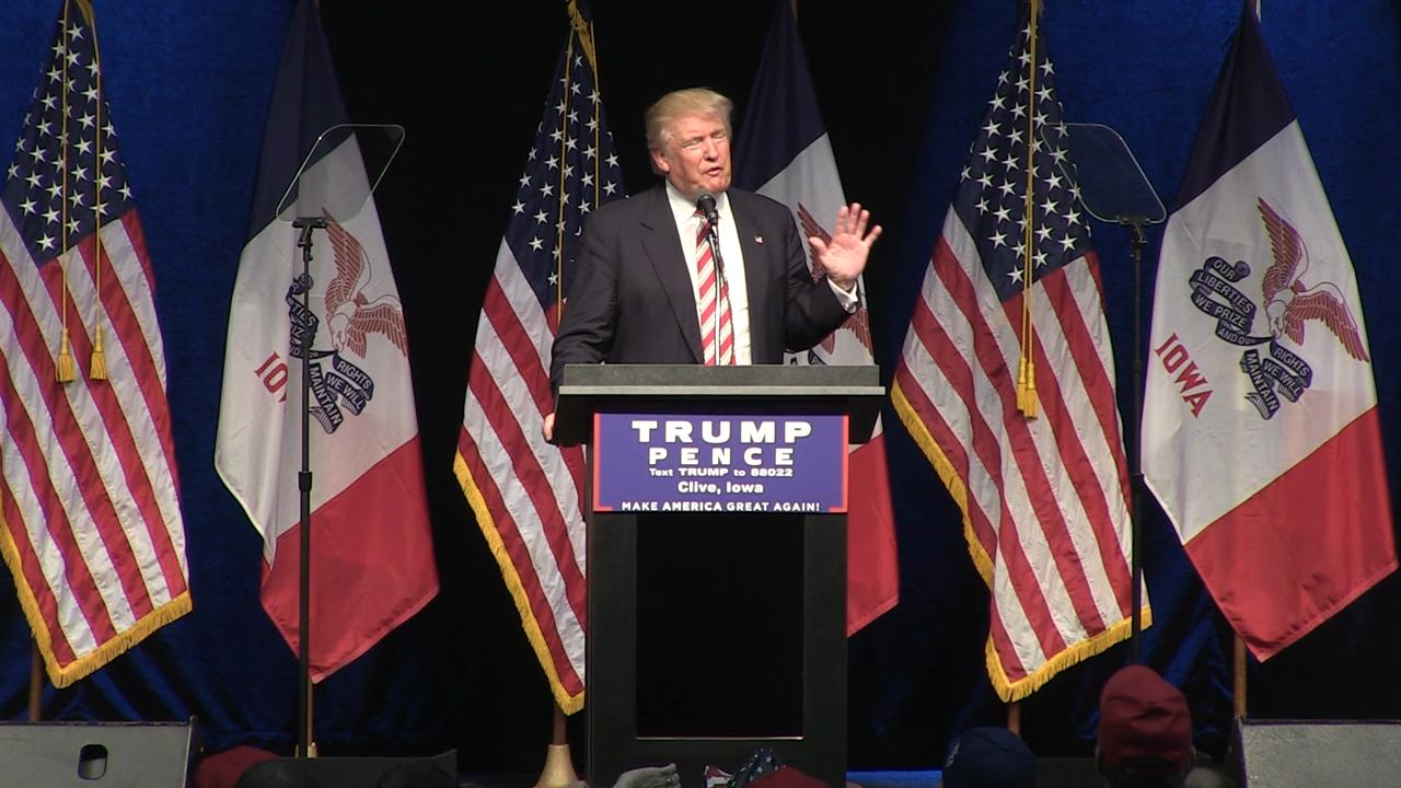 Trump attacks Clinton's 'Deplorable' comment, email scandal in Clive
