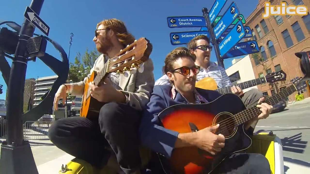 """Waterloo band Sires performs their song """"Colorbook"""" on the streets of downtown Des Moines with the help of Des Bike Pedicab driver David Cornelison in the latest video in the Side Sessions music series."""