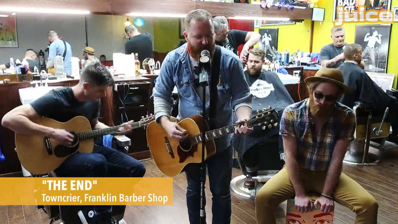 Des Moines band Towncrier stops by the Franklin Barber Shop in Beaverdale, offering up their musical styling for the Juice Side Sessions video series