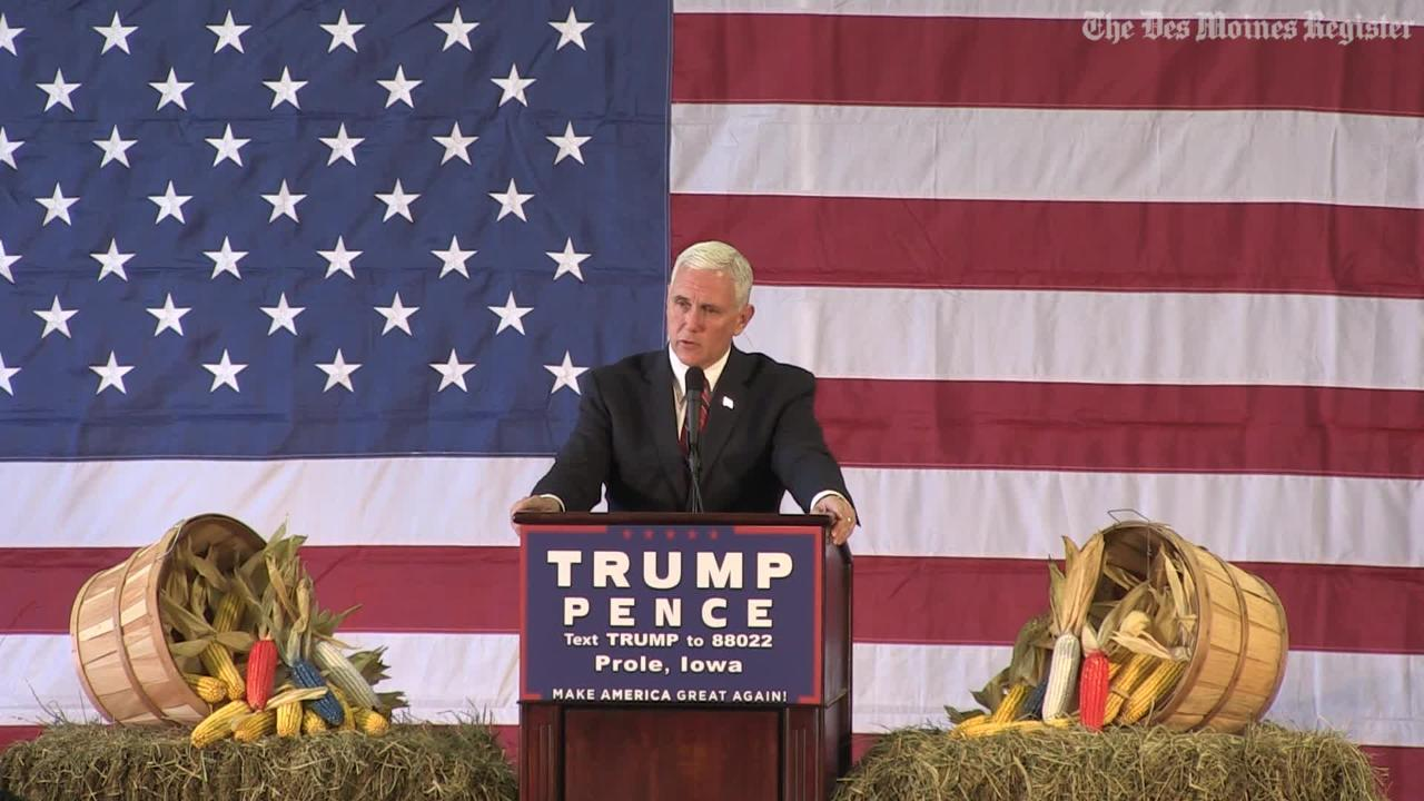 GOP VP nominee Mike Pence talks about the police killings in Des Moines, Urbandale during rally