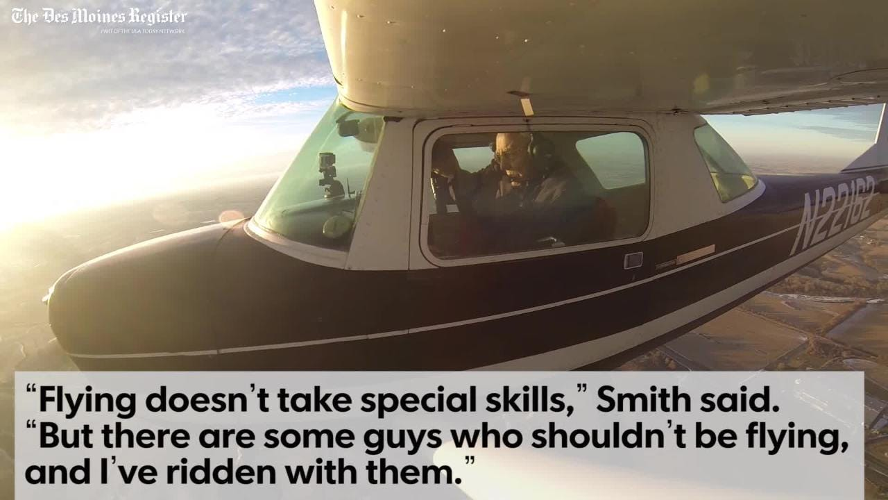 Ernie Smith of Red Oak, Iowa, is recognized by Guinness World Records as the oldest active pilot in the world.