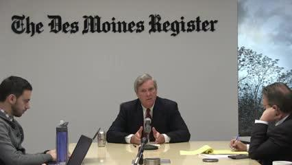 Watch the conversation U.S. Agriculture Secretary Tom Vilsack had with the Des Moines Register editorial board on Dec. 19, 2016.