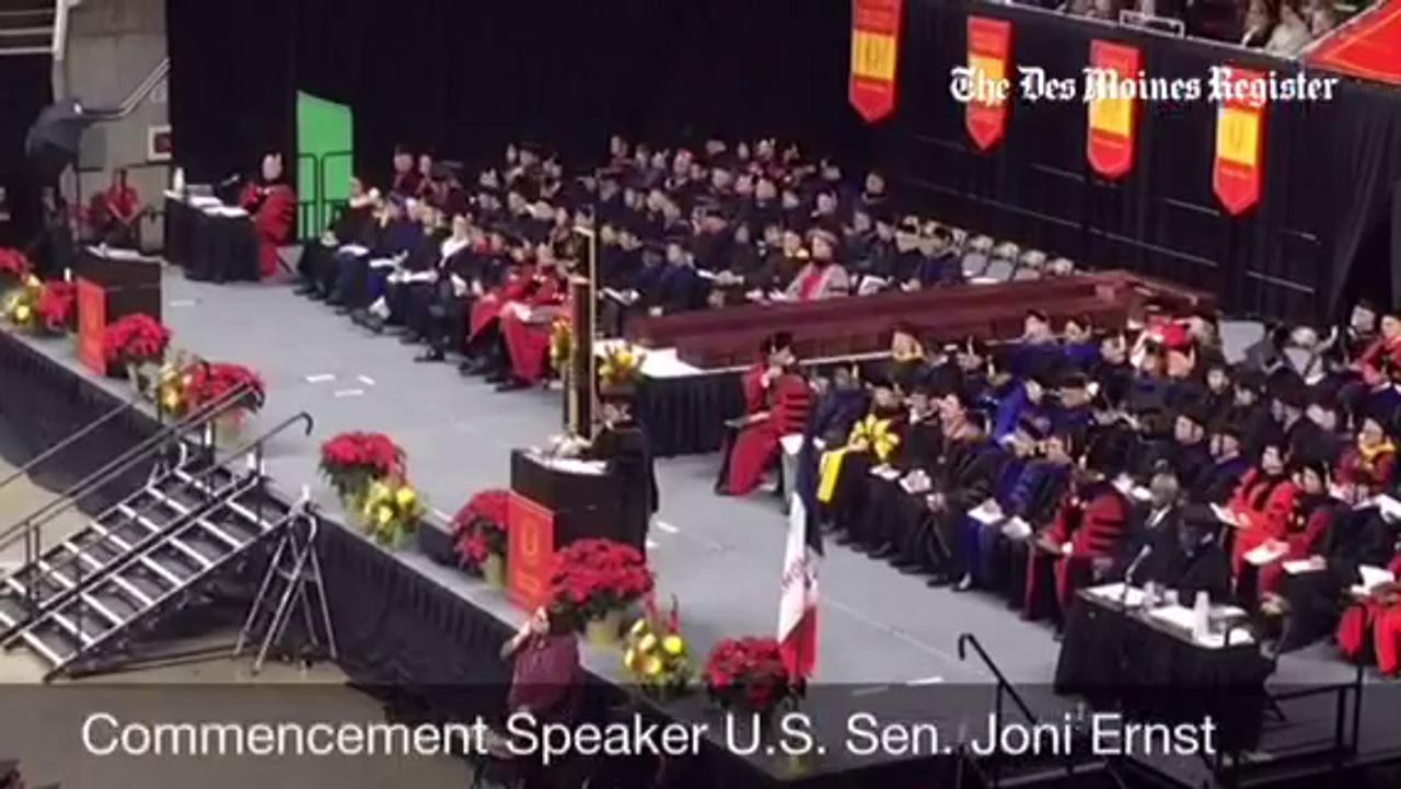 Lt. Gov. Kim Reynolds celebrates her graduation from ISU with confetti