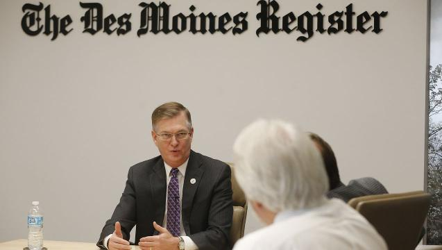 Northern Iowa president Mark Nook sits down with The Des Moines Register editorial board in downtown Des Moines.