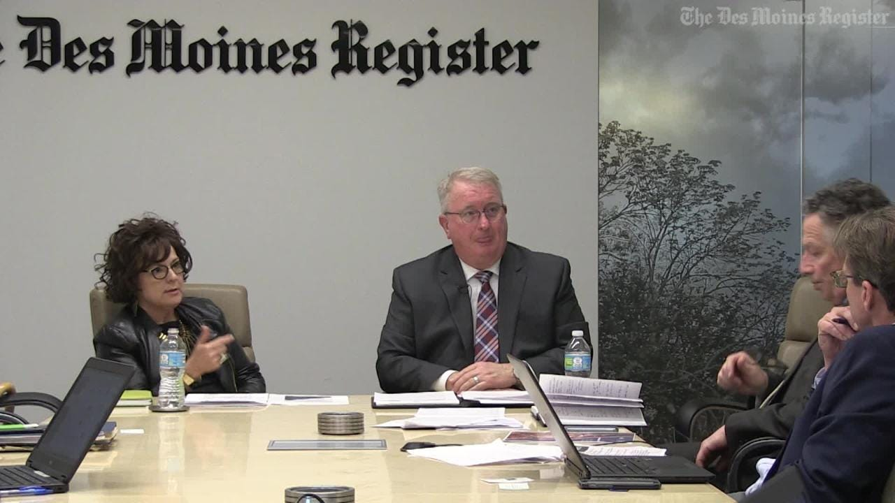 The Register's Editorial Board Meets with Debi Durham of Director of the Iowa Economic Development Authority and Stephen Larson, Administrator of the Iowa Alcoholic Beverages Division to discuss the state's liquor laws.