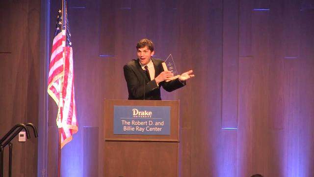 Watch Ashton Kutcher accept his Robert D. Ray character award