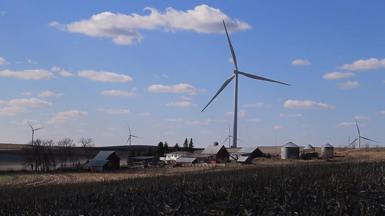 Mason Fleenor of Ida Grove says the turbines around his house are loud and lower his property value.
