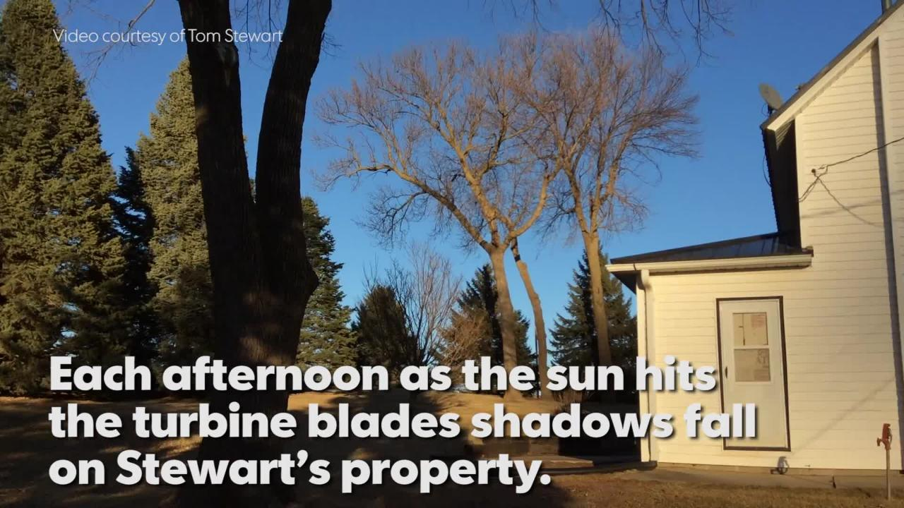 """Tom Stewart, a landowner in northwest Iowa explains the """"flickers"""" produced by wind turbines that surround his property."""