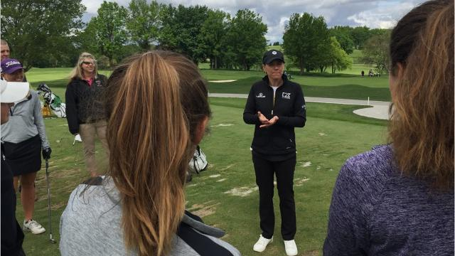 The World Golf Hall of Fame member was at Des Moines Golf and Country Club scouting the course before this August's Solheim Cup. The Team Europe captain paid the state qualifying squad a visit and offered some advice.