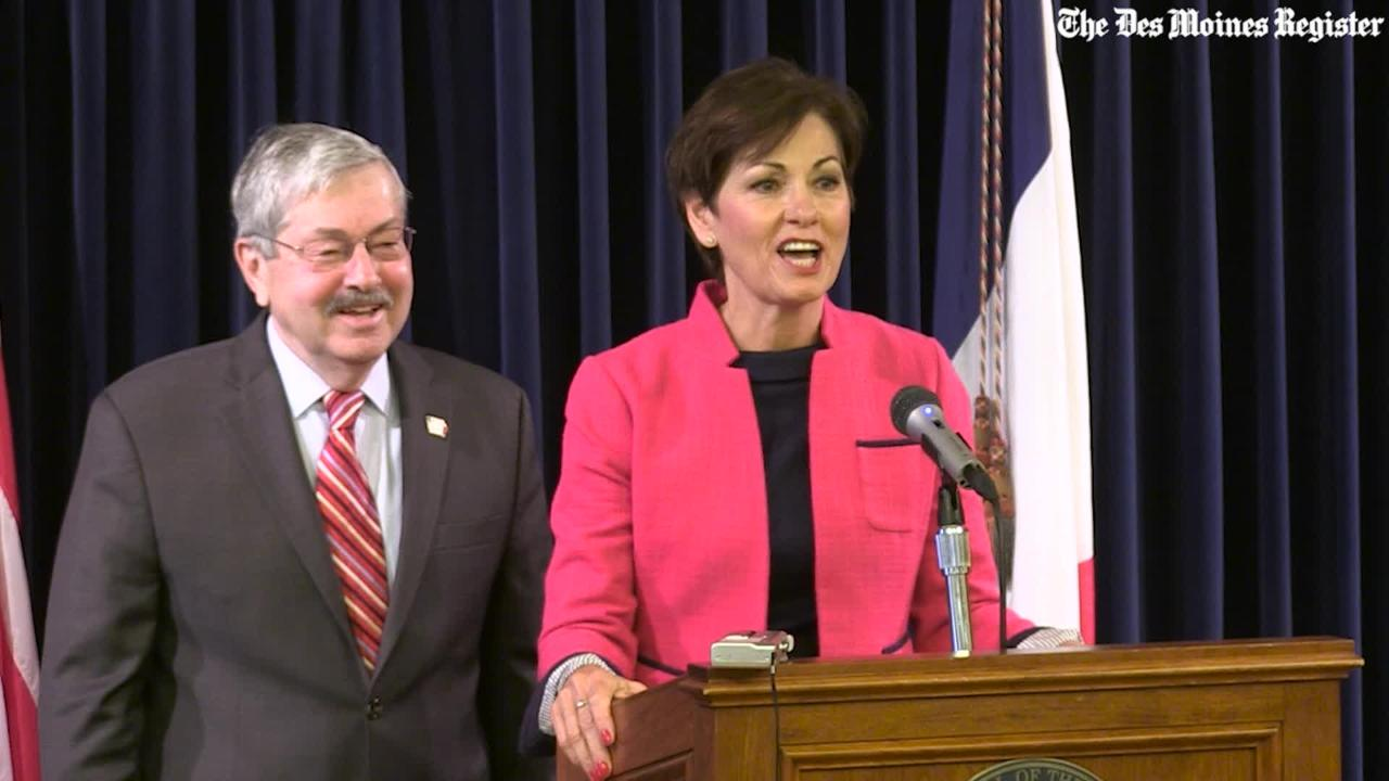 Reynolds gives emotional thank you to Gov. Branstad